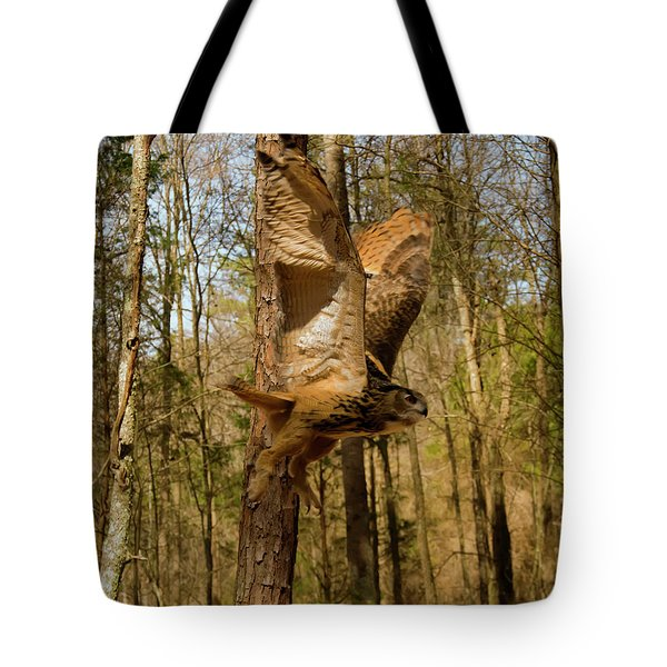 Eurasian Eagle Owl In Flight Tote Bag