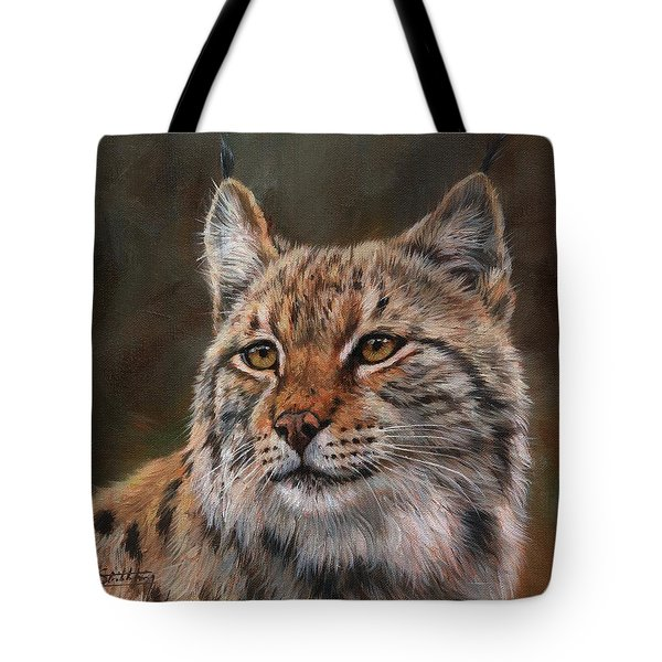 Tote Bag featuring the painting Eurasian Lynx by David Stribbling