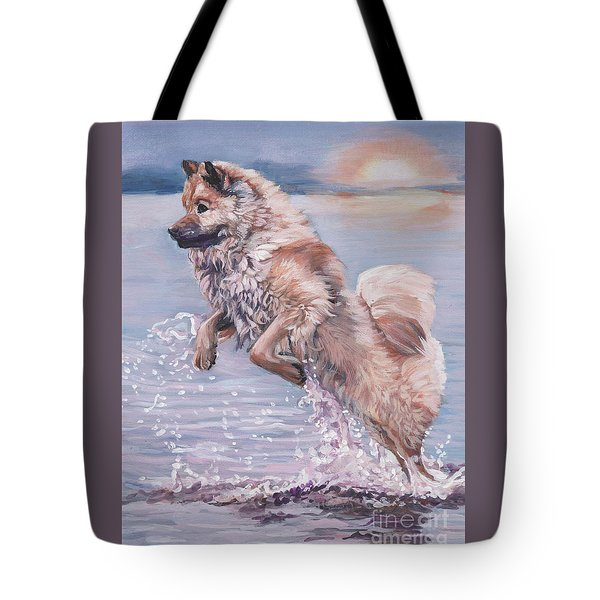 Tote Bag featuring the painting Eurasier In The Sea by Lee Ann Shepard