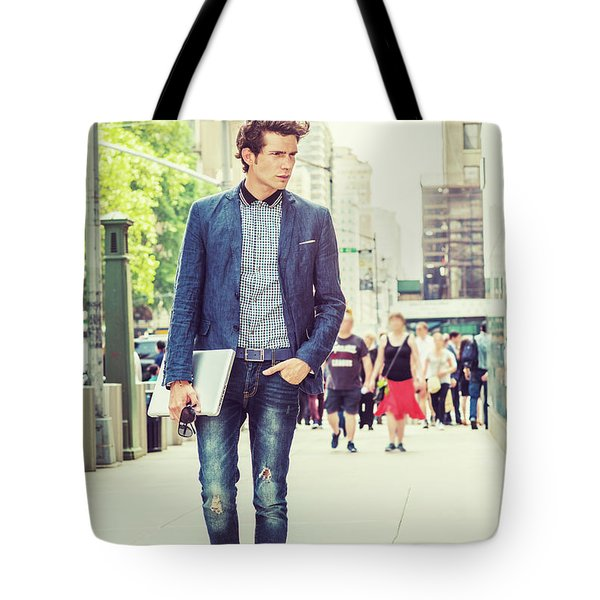 European College Student Studying In New York Tote Bag