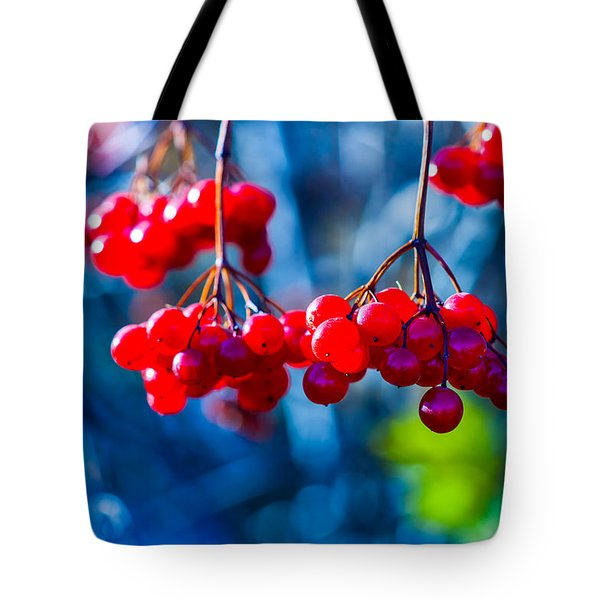 Tote Bag featuring the photograph European Cranberry Berries by Alexander Senin