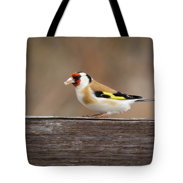 Tote Bag featuring the photograph European Goldfinch In Kenosha by Ricky L Jones