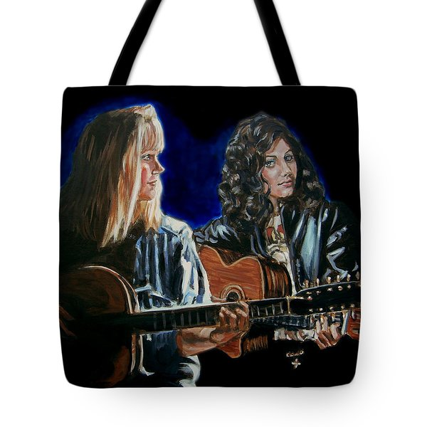 Tote Bag featuring the painting Eva Cassidy And Katie Melua by Bryan Bustard