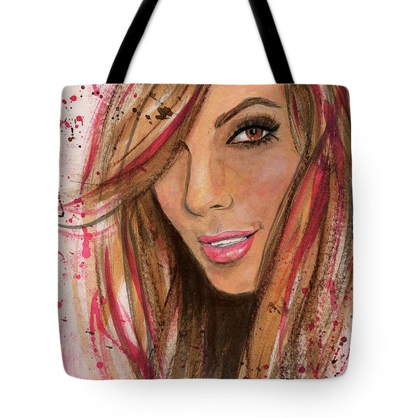 Tote Bag featuring the painting Eva Longoria by P J Lewis