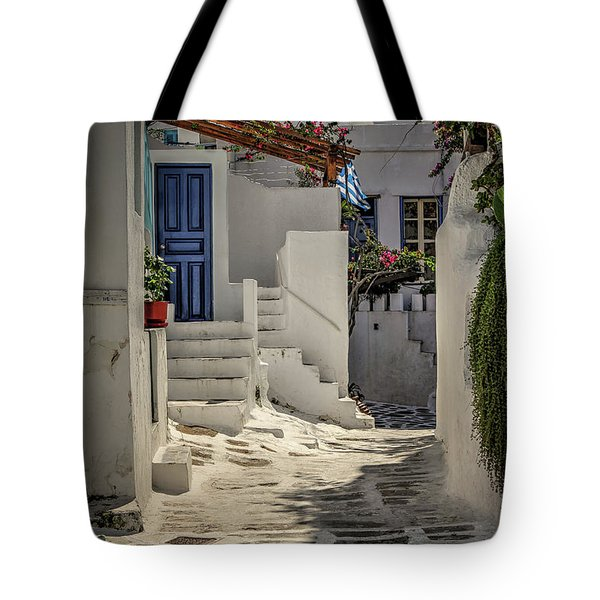 Tote Bag featuring the photograph Eva's Garden Cafe Mykonos by Tom Prendergast