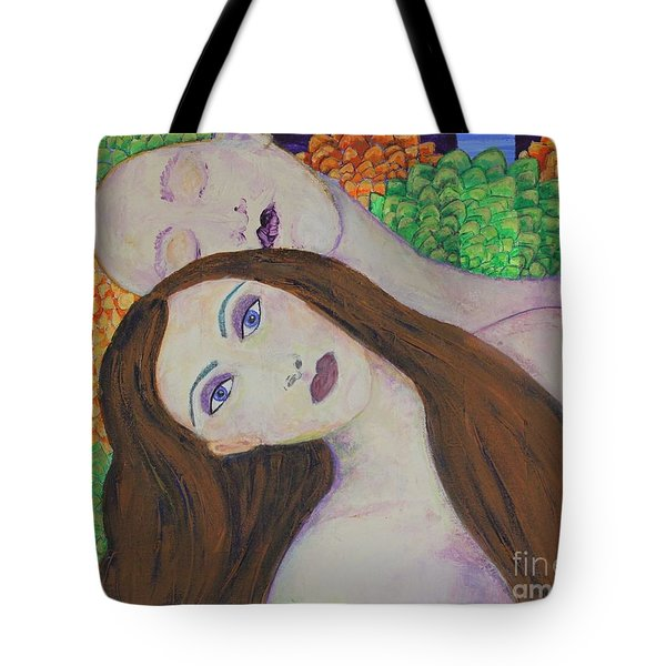 Tote Bag featuring the painting Eve Emerges by Kim Nelson