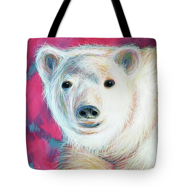 Tote Bag featuring the painting Even Polar Bears Love Pink by Angela Treat Lyon