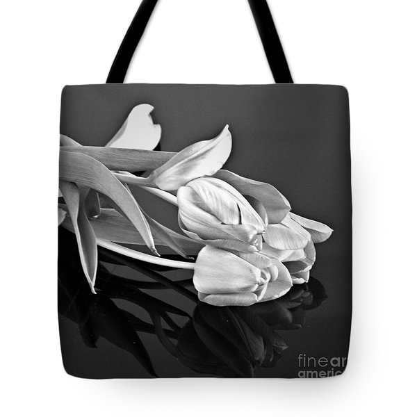 Even Tulips Are Beautiful In Black And White Tote Bag by Sherry Hallemeier