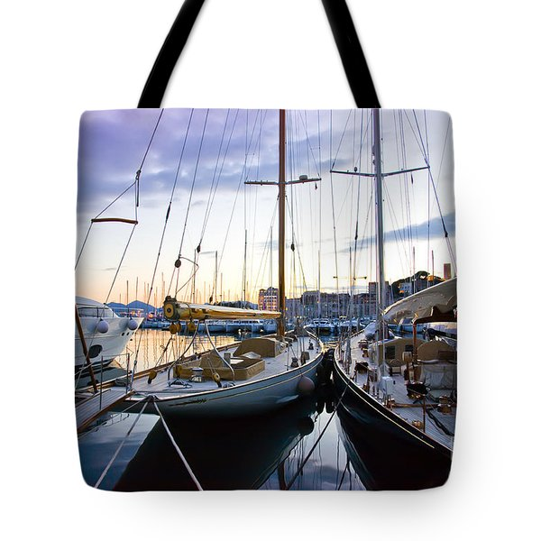 Tote Bag featuring the photograph Evening At Harbor  by Ariadna De Raadt