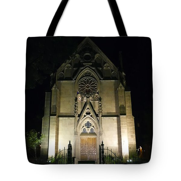 Tote Bag featuring the photograph Evening At Loretto Chapel Santa Fe by Kurt Van Wagner