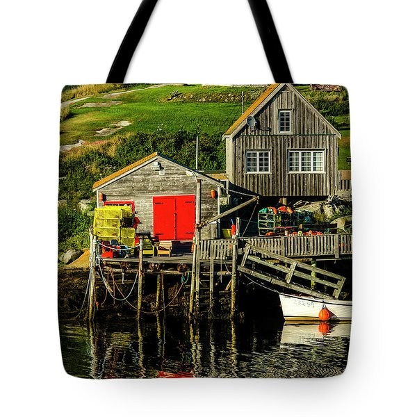Evening At Peggys Cove Tote Bag by Ken Morris