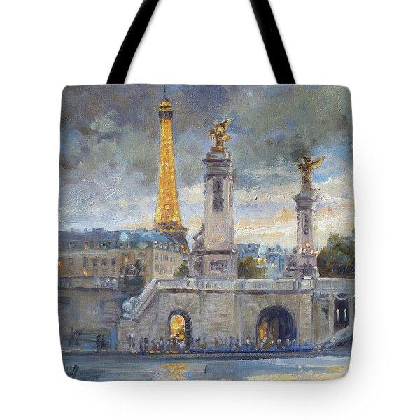 Evening At Pont Du Alexandre, Paris Tote Bag