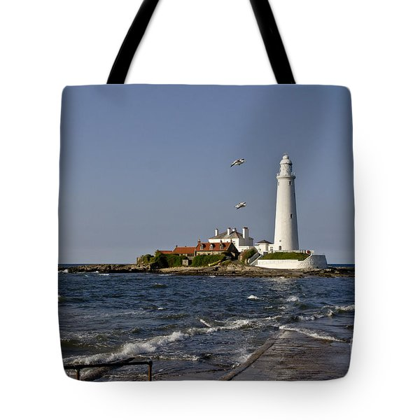 Evening At St. Mary's Lighthouse Tote Bag