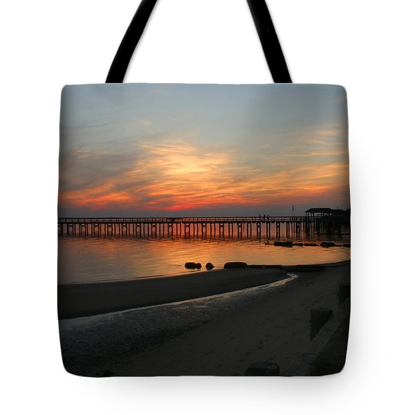 Evening At The Hilton Pier  Tote Bag
