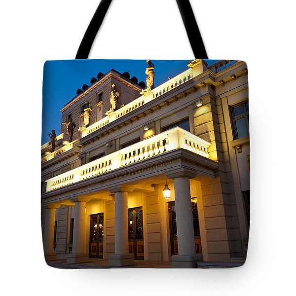 Evening At The National Theater Tote Bag by Rae Tucker
