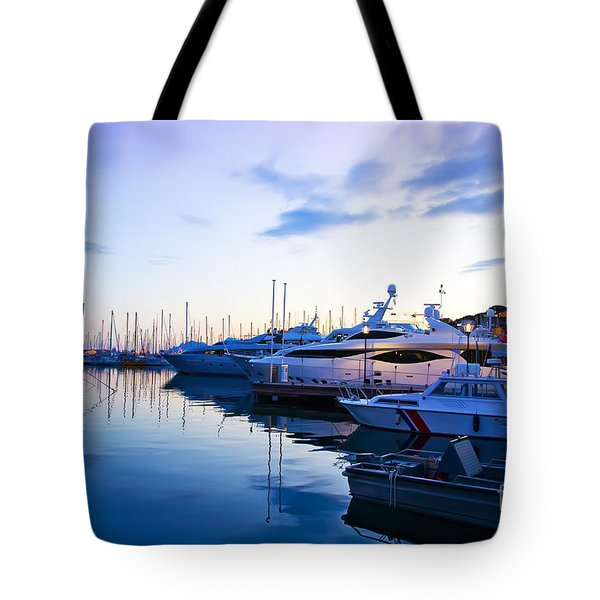 evening at water in Cannes Tote Bag