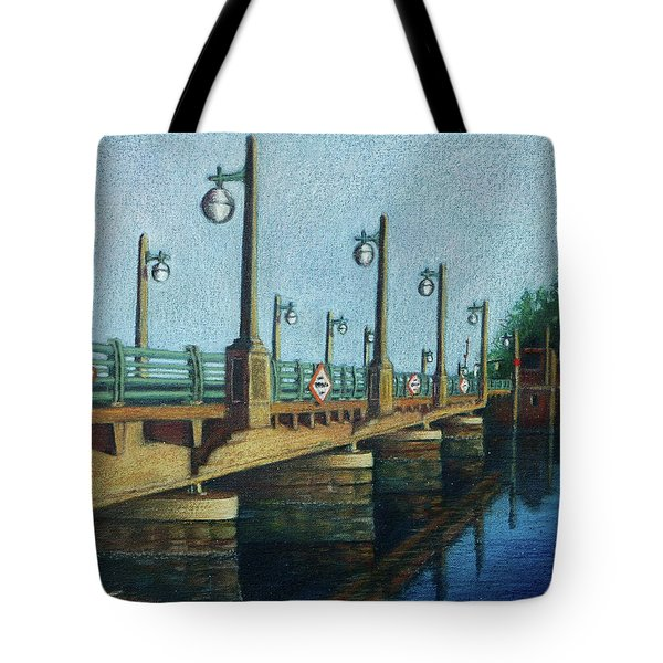 Tote Bag featuring the painting Evening, Bayville Bridge by Susan Herbst