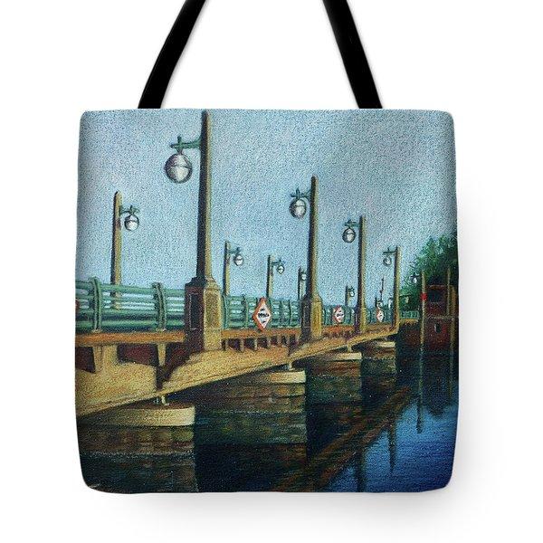 Evening, Bayville Bridge Tote Bag by Susan Herbst