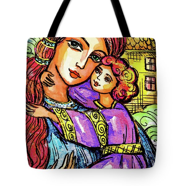 Tote Bag featuring the painting Evening Church by Eva Campbell