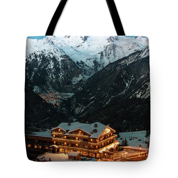 Evening Comes In Courchevel Tote Bag