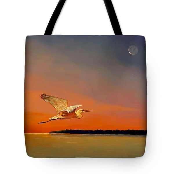Tote Bag featuring the painting Evening Flight by David  Van Hulst