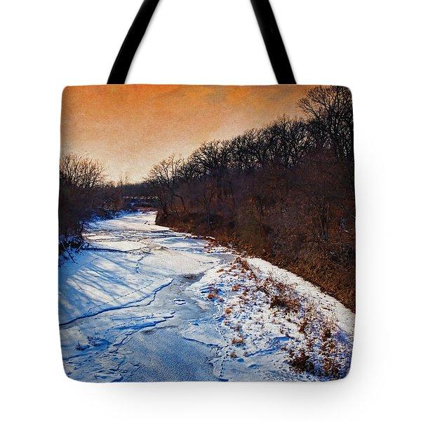 Evening Frozen Creek Tote Bag