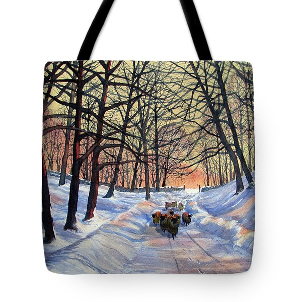 Evening Glow On A Winter Lane Tote Bag