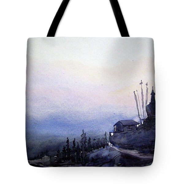 Tote Bag featuring the painting Evening Himalaya Landscape by Samiran Sarkar