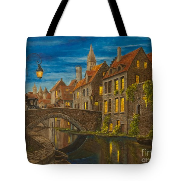 Evening In Brugge Tote Bag by Charlotte Blanchard