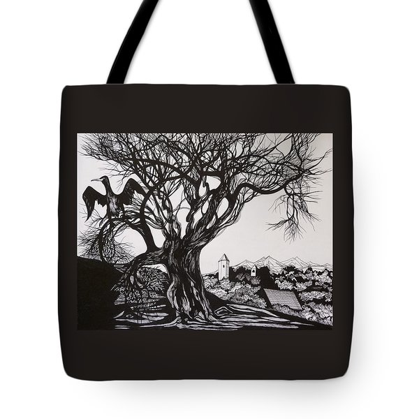 Tote Bag featuring the drawing Evening In Midnapore by Anna  Duyunova