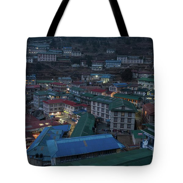 Tote Bag featuring the photograph Evening In Namche Nepal by Mike Reid