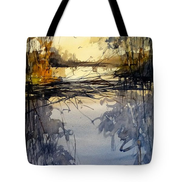Tote Bag featuring the painting Evening In The Wetlands by Sandra Strohschein