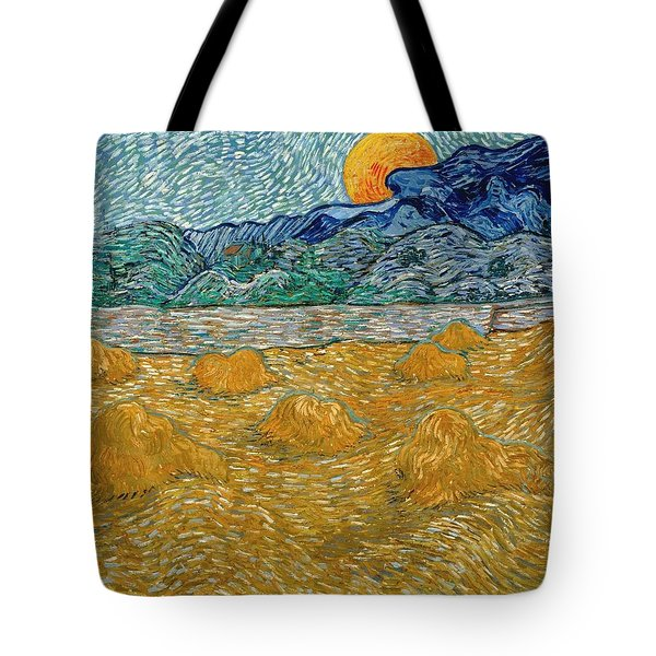 Tote Bag featuring the painting Evening Landscape With Rising Moon by Van Gogh