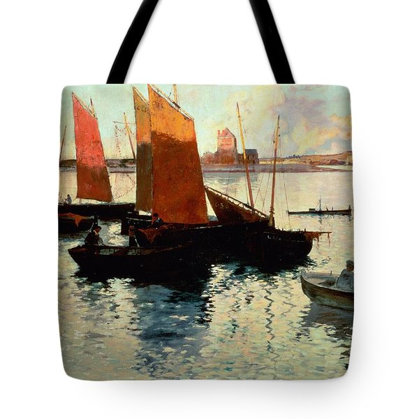 Evening Light At The Port Of Camaret Tote Bag by Charles Cottet