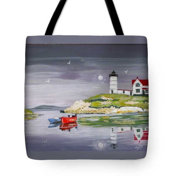 Tote Bag featuring the painting Evening Lighthouse by Phyllis Kaltenbach