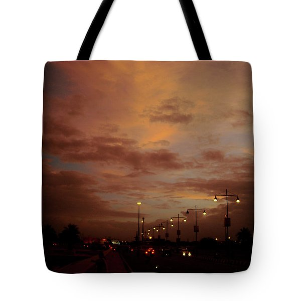 Evening Lights On Road Tote Bag
