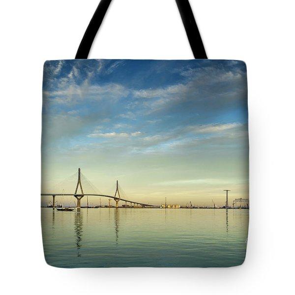 Evening Lights On The Bay Cadiz Spain Tote Bag
