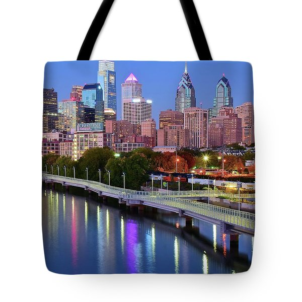 Tote Bag featuring the photograph Evening Lights On The Delaware by Frozen in Time Fine Art Photography