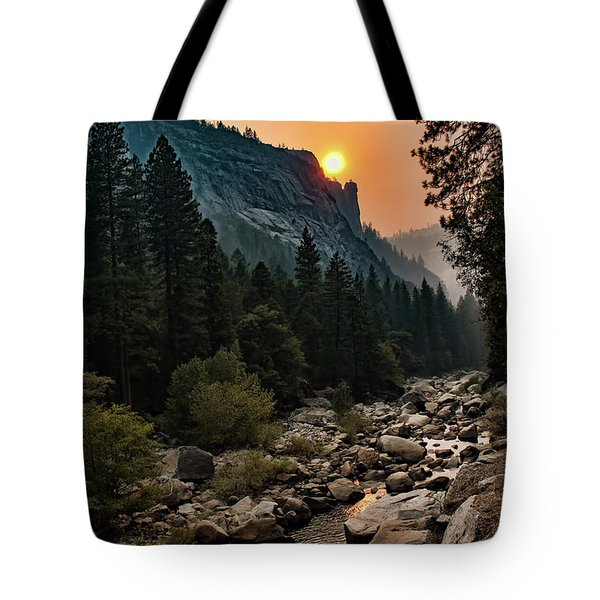 Evening On The Merced River Tote Bag