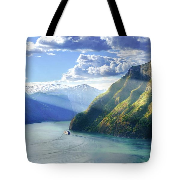 Tote Bag featuring the photograph Evening Over Geirangerfjord by Dmytro Korol