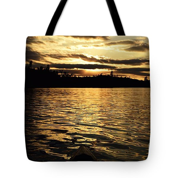 Tote Bag featuring the photograph Evening Paddle On Amoeber Lake by Larry Ricker