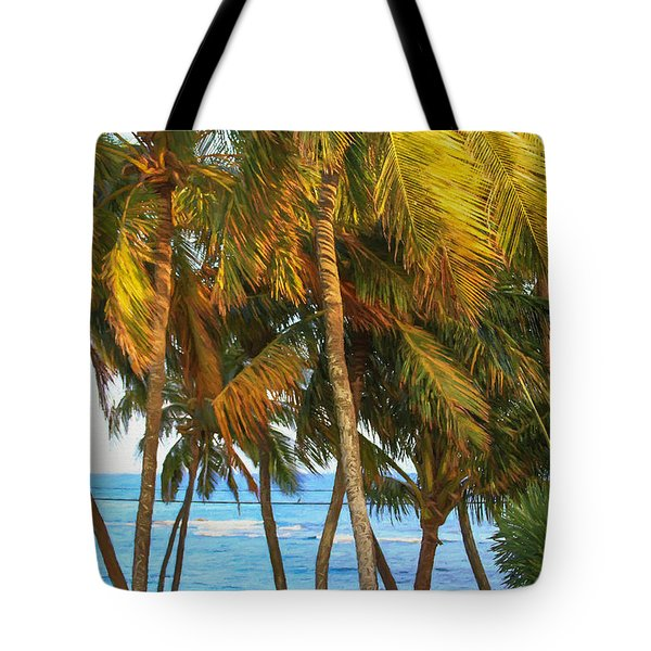 Evening Palms In Trade Winds Tote Bag by Bonnie Follett