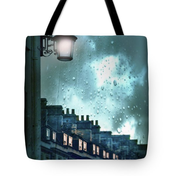 Tote Bag featuring the photograph Evening Rainstorm In The City by Jill Battaglia