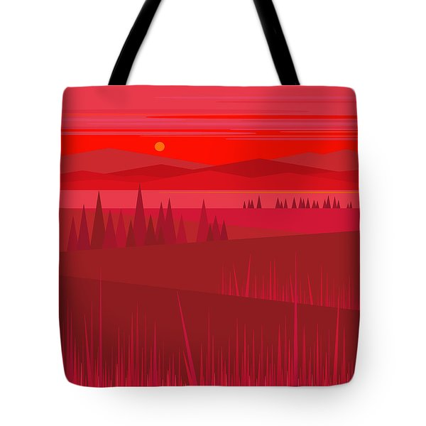 Evening Red Tote Bag by Val Arie