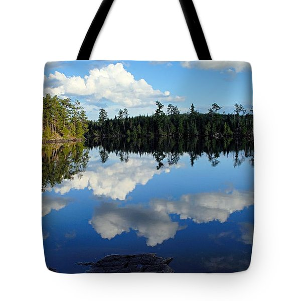 Evening Reflections On Spoon Lake Tote Bag by Larry Ricker