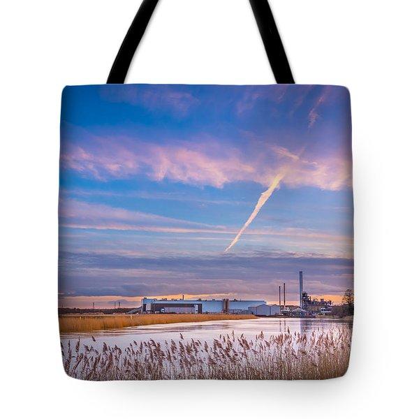 Evening River Scene Tote Bag