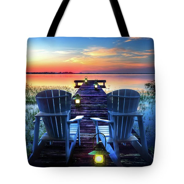 Tote Bag featuring the photograph Evening Romance by Debra and Dave Vanderlaan