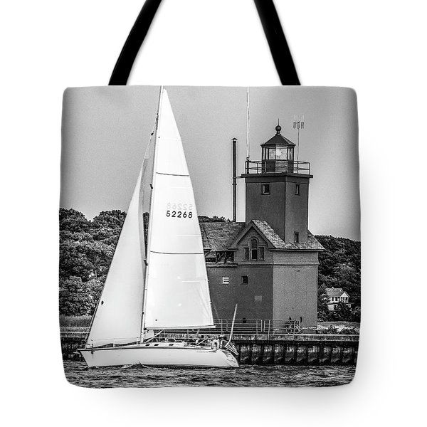 Evening Sail At Holland Light - Bw Tote Bag