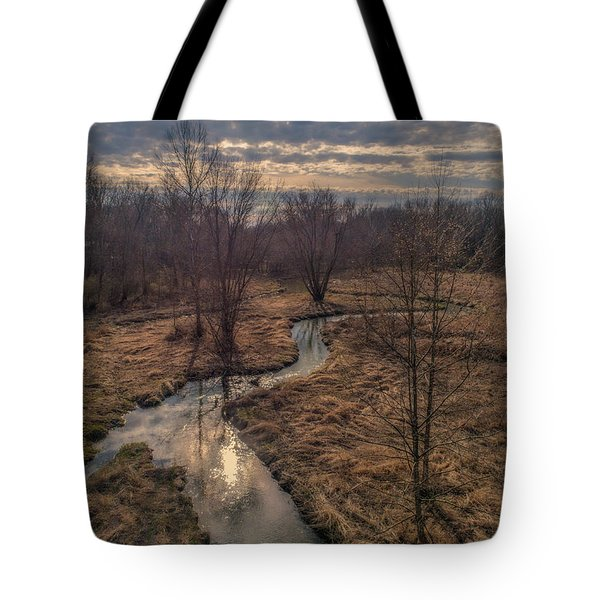 Evening Sun On The Creek Tote Bag