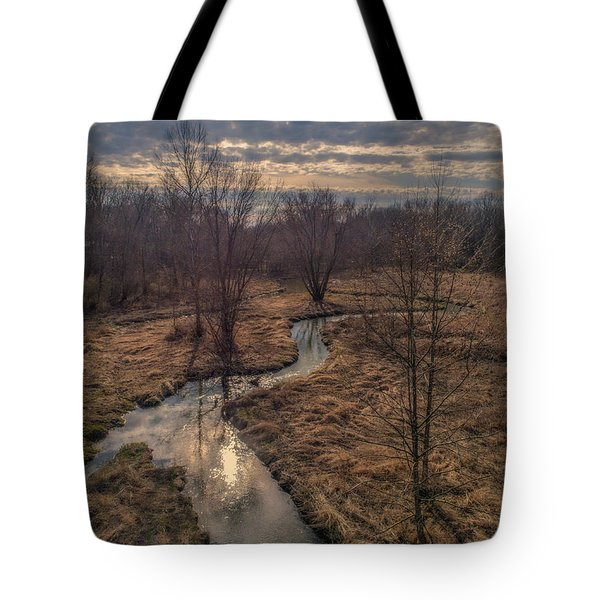 Evening Sun On The Creek Tote Bag
